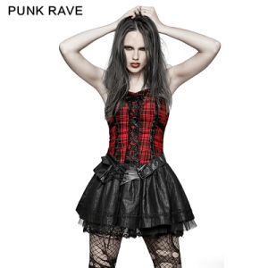 Q-310 Punk a Type Splicing Braces Fluffy Cute Plaid Dress