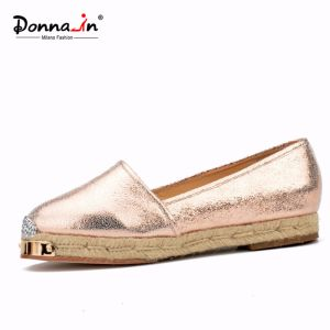 2017 Fashion Lady Metal-Toe Leather Casual Women Rope Flats Shoes