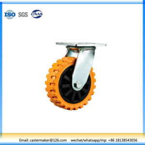 Heavy Duty Swivel Type Double Ball Bearing Orange PU Industrial Caster pictures & photos