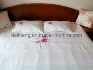 100% Microfiber Polyester 3PCS Bleached White Embroidered Bed Sheet Sets