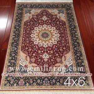 Pure Silk Rug Hand Made Hand Knotted
