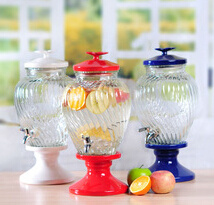 Glass Beverage Dispenser with Color Lid and Stand pictures & photos