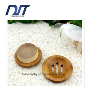 Round Bathroom Accessories Bamboo Soap Box with Custom Design