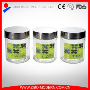 3PC Round Glass Food Jar with Printing pictures & photos