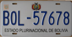 Bolivia Car License Plates / Number Plates / Vehicle Plates