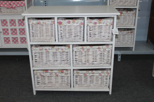 Wooden cabinet with 7 wicker drawer & lining