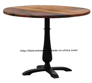 Modern Industrial Dining Restaurant Iron Steel Leg Black Wooden Table pictures & photos