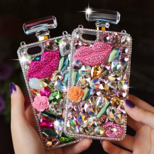 Deluxe Diamond Crystal Bling Perfume Bottle Cover Case Handbag Chain for Cell Phones