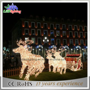 fashion christmas sleigh and deer 3d led motif light for christmas decoration holiday light