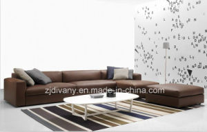 Italian Modern Style Living Room Wooden Leather Sofa Set D-63 F (R) +H (L) +K pictures & photos