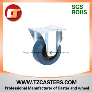 Fixed Caster with Elastic Blue Rubber Wheel+Black Nylon Center (C001-FD80-200) pictures & photos