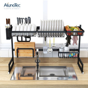 95cm Stainless Steel Holder Black Stand Dish Drying Sink Rack Kitchen  Storage Rack