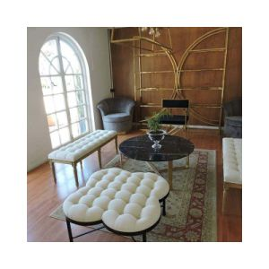 China Upholstered Living Room Tufted Quatrefoil Ottoman Coffee