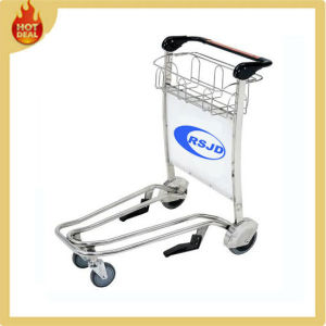 Stainless Steel 4 Wheels Airport Luggage Trolley with Brake (GG5C) pictures & photos
