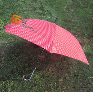 23 Inch Red Cloth Straight Umbrella with White Dots (YSS005B)