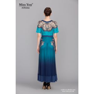 Miss You Ailinna 801412 Long Crystal Cotton Dress Distributor Printed Blue Beautiful Dress pictures & photos