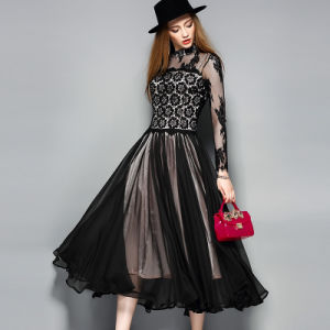 Black Sexy Lace Dress for Women Party Garment