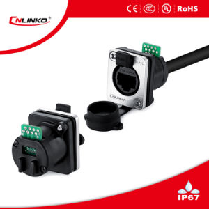 Female RJ45 Connector IP67/ RJ45 Panel Mount Connector for Communication Equipment pictures & photos