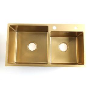 China 3016 Vessel Sink Nano Golden Color Coating 20 Gauge Double