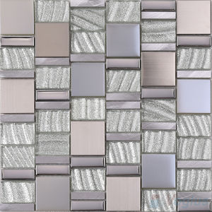 Magic Stream Silver Foiled Glass Aluminum Mosaic