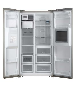 China 548 Lit Glass Door Side By Side Refrigerator With Ice Maker
