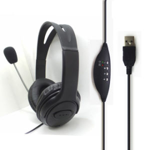 Black Cheap Factory USB Headset with Mic pictures & photos