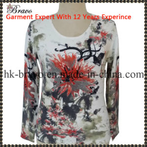 Mama's Round Neck Long Sleeve Knitted Printing Sweater (A6446)