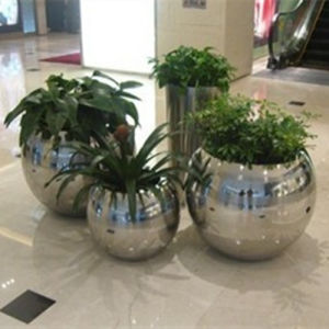 China Spherosome Round Mirror Stainless Steel Flower Planter Pot
