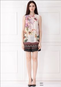 Fashion European Style Women Flower Print Sleeveless Chiffon Blouse; (C85051)