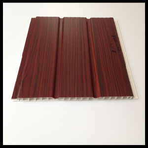 Two Grooves in The Middle Laminated Wooden Color PVC Panel for Home Decoration (HN-301)