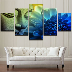 Modern Wall Art Canvas HD Prints Landscape Oil Painting Frame Modular  Poster 5 Panel Buddha Lotus