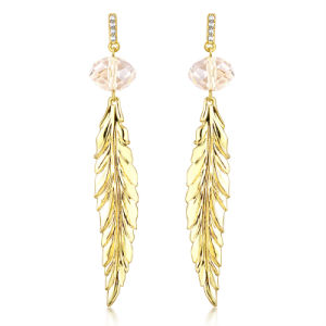 Female Jewelry Long Size Leaf Design Gold Earring