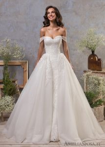 Amelie Rocky Off Shoulder Ball Gown Wedding Dresses With Detachable Train