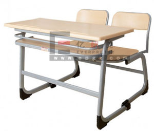 Sf-41d Wood Children Double Desk and Chair, Children Double Students Desk with Bench pictures & photos