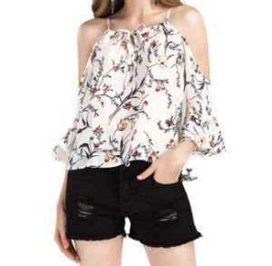 Beach Floral Print High-End Cold Shoulder Knot Blouse