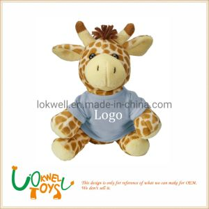 Plush Giraffe Stuffed Animal Toys with T- Shirt Logo Printed