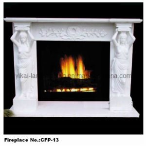 Stone Figure Fireplace Electric Fireplace Mantel Carved by Marble (YKFP-13)