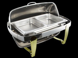 Stainless Steel Chafing Dish with 2 Trays Devided (ZZCL-WN1)