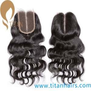 Middle Part Remy Virgin Indian Black Silk Top Lace Closure