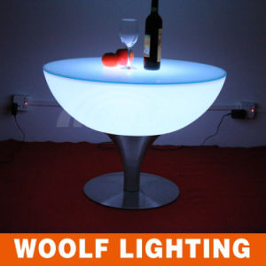 RGB LED White Large Round Coffee Tables