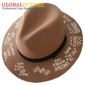 Fashion Offset Point Letters Polyster Fedora Hat