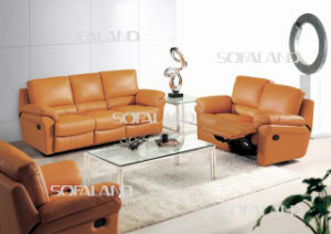 Yellow Color Cup Holder Board Leather Recliner Sofa