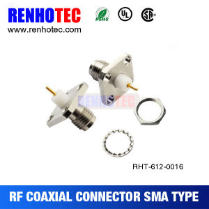 Nickel Plated SMA Female Panel Connector Flange Jack Coaxial Connector pictures & photos