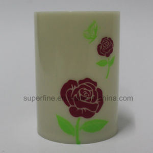 Flickering Battery Operated Beautiful Rose Printed Pillar LED Candles pictures & photos