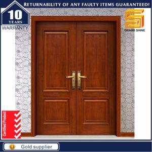Exterior Solid Wooden Double Panel Entrance Wood Door