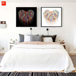 Modern Abstract Simple Heart Chrome Canvas Print