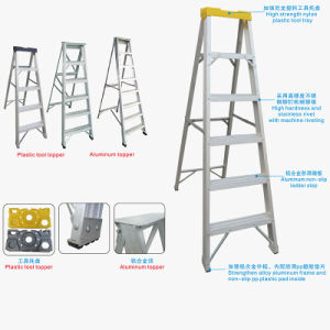 Aluminum Folding Step Ladder with Plastic Tool Topper