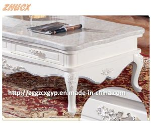 Solid Wood TV Cabinet Marble Table Top European Carving TV Cabinet Tea Table Marble pictures & photos