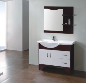 Laminate Melamine Bathroom Vanity Cabinet with Ceramic Basin Top pictures & photos