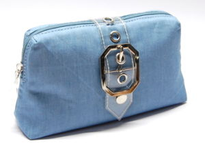 Jean Cosmetic Bag Purse with PVC Trim 01